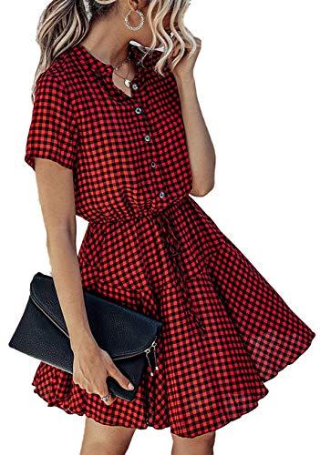 Longwu Vestido Casual Acampanado con Estampado de Cuadros y Cintura elástica de Manga Corta para Mujer con Bolsillo Negro Rojo-XL