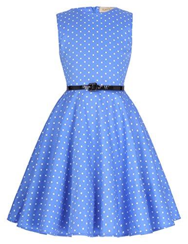 Vestido Vintage Estampado de Niñas Años 50 para Fiesta Cóctel Vestido Algodón de Verano sin Mangas con Cinturón 15 Años KK250-15