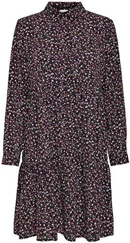 JDY JDYPIPER L/S Shirt Dress WVN Noos Vestido, Negro/AOP: Rosa Fucsia y Viola Floral, 36 para Mujer