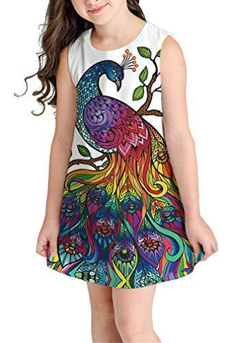 Ocean Plus Niña Verano Casual Vendimia Vestidos Sin Mangas Flamenco Patrón Lindo Impreso Rodilla Larga Gatito Tramo Partido Dress (S (Altura: 135-145 cm), Pavo Real)