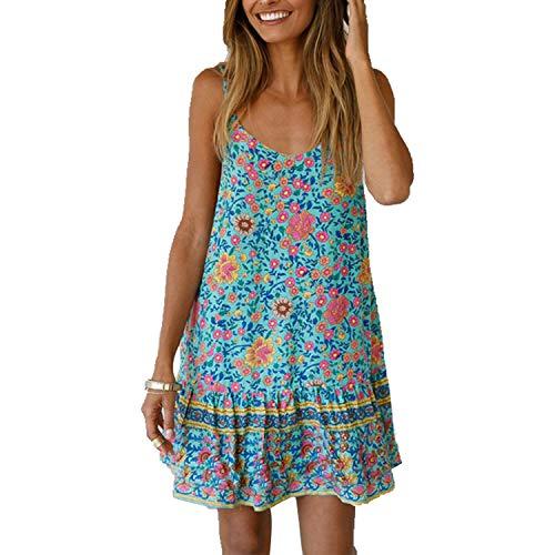 Snyemio Mujer Vestido de Verano con Estampado Floral Cuello en v para Cortos Playa Casual Mini Tops, Azul, L