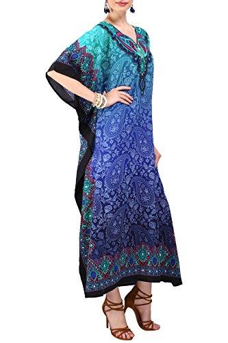 Miss Lavish London Mujeres caftán de Londres túnica Kimono Libre tamaño Largo Vestido de Fiesta para Loungewear Vacaciones Ropa de Dormir Playa Todos los días Cubrir Vestidos #101 [Azul EU 46-50]