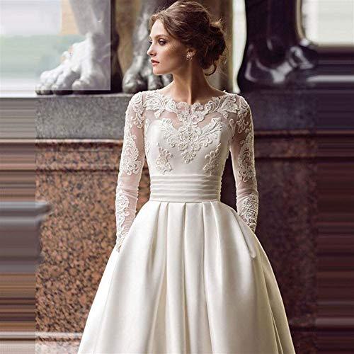 QING XIN-1225 Vestido de Novia Apliques de Marfil Vestidos de Novia Vestido de Novia Vestido de Novia de Manga Larga de una línea de Tren de satén con Encaje de Color Blanco/Vestidos Novia