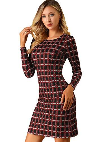 Allegra K Vestido De Tela Escocesa De Trabajo De Negocios Mangas Largas para Mujeres - Negro y Rojo/L (US 14), L (EU 44)