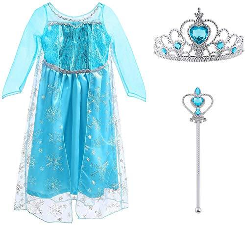 Vicloon - Disfraz de Princesa Elsa - Reino de Hielo - Vestido de Cosplay de Carnaval, Halloween y la Fiesta de Cumpleaños, Color Azul, Talla 120