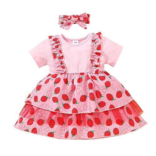 Vestido Casual Verano y Diadema de Lazo para Bebé Niña Vestido de Princesa de Manga Corta con Estampado de Fruta Flor Vestido de Línea A de Niña Pequeña para Fiesta Cumpleaños (Fresa, 3-6 Meses)