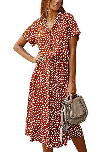 Vestido Mujer Bohemio Largo Verano Playa Fiesta Floral/Polka Dot Maxi Vestidos Cóctel Falda Larga Naranja XL