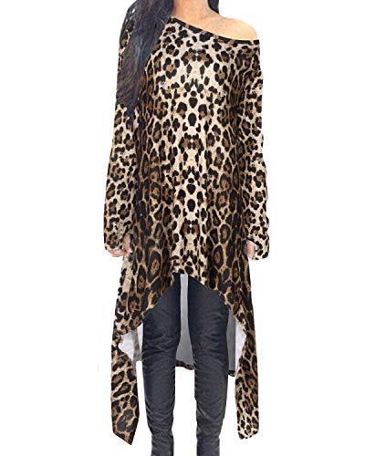 ZANZEA Vestido de Punto asimétrico de Manga Larga Suelta de Invierno Casual Sexy para Mujer Talla Grande 02-Leopardo M