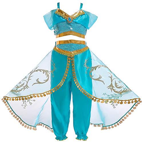 JK Disfraz de Princesa Jasmine con Lentejuelas para niñas, Vestido de Princesa Aladdin Jasmine para Fiesta de Halloween para niños (110cm)