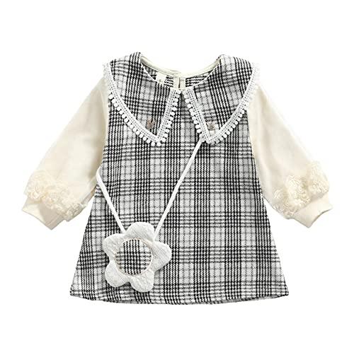 GOWEGB My 1st Christmas - Vestido de bebé para niña, manga larga, cuello redondo, con bolsa cruzada, A-negro, 2 Año
