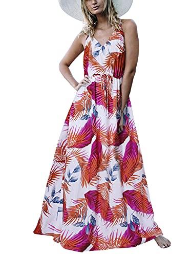Auxo Vestido Largo Verano Mujer Impresión Floral Vestidos Bohemios Sin Mangas Cuello V Vestido Playa Largo Tirantes Blanco2 XL