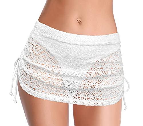SHEKINI Falda De BañO Plisada para Mujer con Parte Inferior De Bikini Incorporada Ajustable Falda De Playa De NatacióN De Cintura Alta Ahuecada(Blanco Q,L)