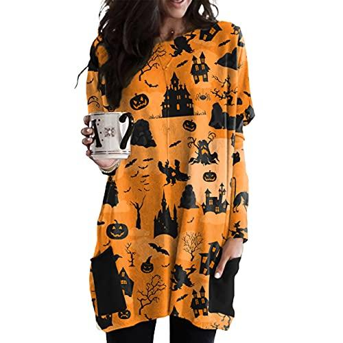 Vestidos de Halloween para Mujer de Manga Larga con Estampado de Calabaza y Esqueleto, Cosplay, Disfraz de Halloween