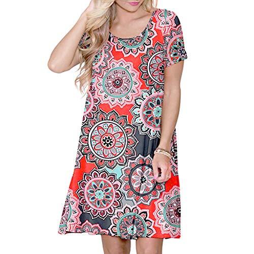 VEMOW Vestido Mujer Mujeres Verano Manga Corta Floral Bolsillos Impresos Vestido de oscilación Ocasional de Sundress(B Naranja,M)