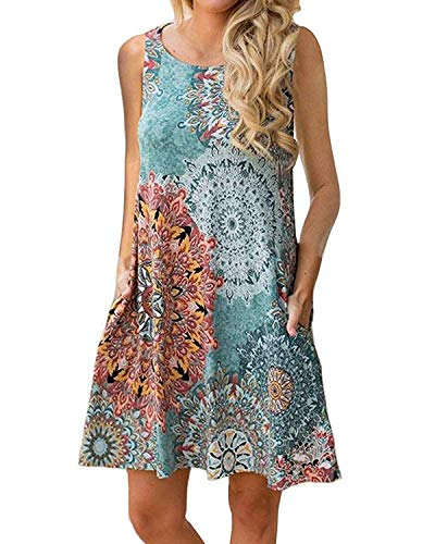Abravo Mujer Vestido Estampado Floral sin Mangas Vestido Casual Corto Playa con un Bolsillo,Azul,2XL