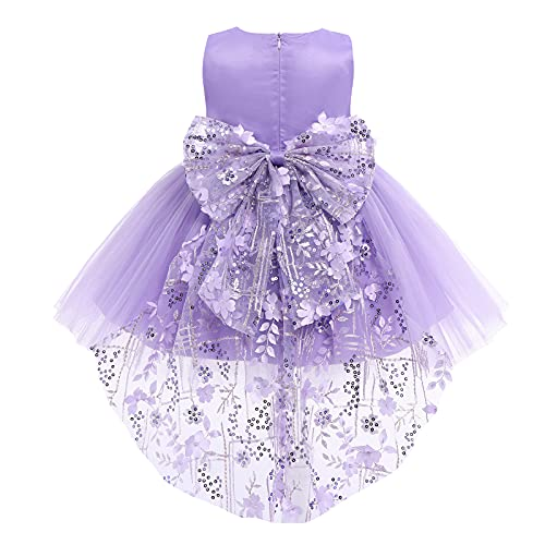 FYMNSI Vestido de niña pequeña o bebé para fiesta de cumpleaños o bautizo, con lazo, flores, encaje, diadema y tutú de tul, para bodas, niña paje, estilo princesa Violeta - Vokuhila 18-24 Meses