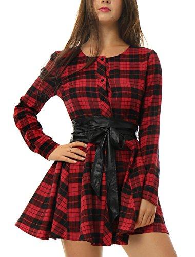 Allegra K Vestido Acampanado De Cuadros Mangas Largas con Cinturón Vestido Mini Camisero para Mujer Negro y Rojo L