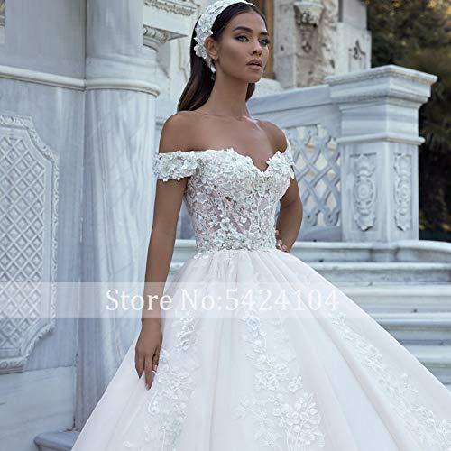 SWEETQT Vestido de Novia Apliques magníficos Tren Una línea Vestido de Novia Flores de Lujo con Cuentas Cuello Barco Princesa Vestido de Novia Tallas Grandes Vestido de Noche