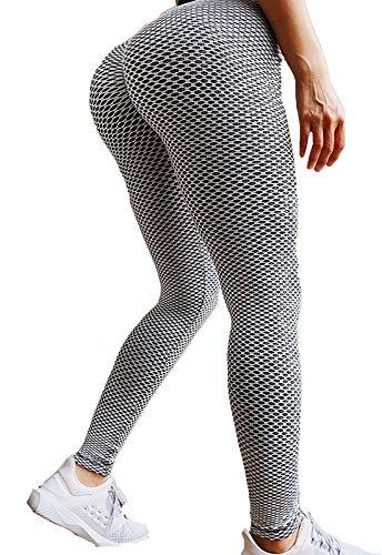 FITTOO Leggings Mallas Mujer Pantalones Deportivos Yoga Alta Cintura Elásticos y Transpirables Gris Grande