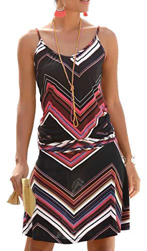 JFAN Vestido Largo para Mujer Sexy Vestido de Playa con Boho Falda de Playa Impreso O-Cuello Vestidos Mujer Casual Vestidos(Ondulada,M)