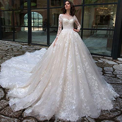 Vestido de novia Vestido de novia preciosa cosecha Apliques de tren capilla de encaje una línea de vestidos de boda atractivo con cuello redondo de manga larga Vestido de Noiva vestidos novia