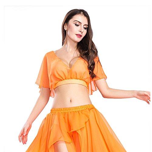 ROYAL SMEELA Mujeres Naranja Sexy Fashion Belly Dance Top Camisa de Vestir Vestido de Traje