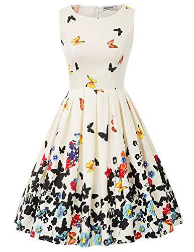 Vestido Mujer Fiesta sin Mangas Estampado de Verano Retro Pin Up S CL010992-2