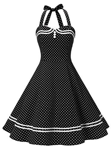 Timormode Vestido Cóctel Corto Vintage 50s Cuello Halter Vestido De Fiesta Rockabilly Mujer Negro Puntos S