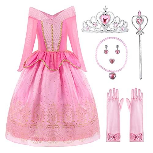 ReliBeauty Vestido del Traje de la Princesa Aurora Ropa Partido Vestuario del La Bella Durmiente Vestido de Tul con la Lentejuela y el Ornamento de Oro niña,2-3 años (100),con Accesorios …