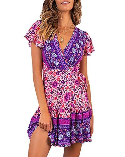 Abravo Mujer Vestido Bohemio Corto Florales Nacional Verano Vestido Casual Magas Cortas Chic de Noche Playa Vacaciones (M, Fucsia)
