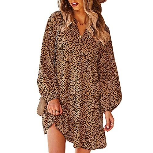OtoñO E Invierno SeñOras Moda Casual con Cuello En V Estampado De Leopardo De Manga Larga Suelta Vestido Corto De Cobertura Mujer