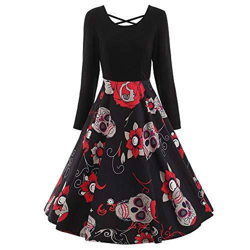 Lenfesh_Vestidos Corto Manga Larga de Otoño para Mujer cráneo Vestido Corto Elegantes Negro Halloween Vestidos de Mujeres