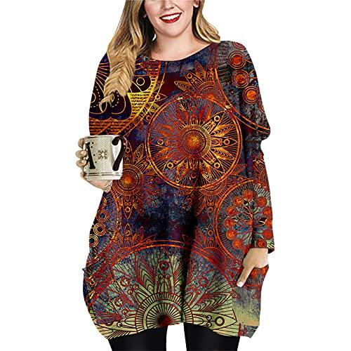 Vestido Suelto hasta la Rodilla para Mujer Primavera Otoño Invierno Manga Larga Cuello Redondo Sudadera con Capucha Estampado 3D Camiseta Informal Tops para el hogar 4XL