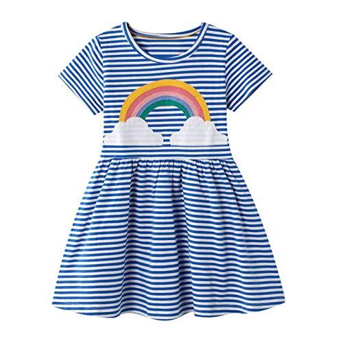 FILOWA Vestidos Niña Azul Rayas Arco Iris Estampados Algodon Manga Corta Verano Casual Baratos Vestidos Infantil Bebés Niña Camiseta Ropa 4-5 años