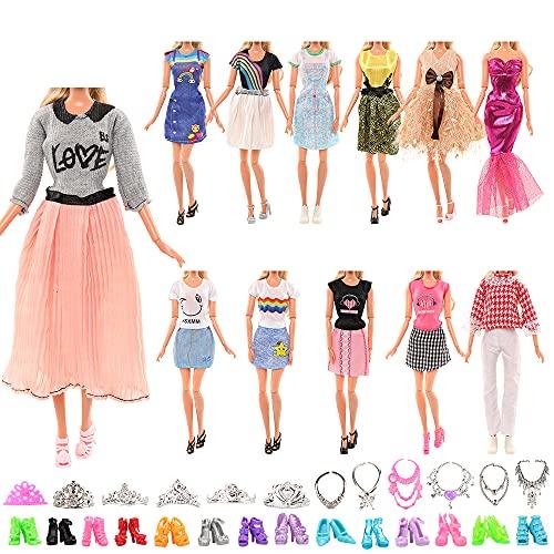 Miunana 27 Piezas para Muñeca De 11,5 Pulgadas 28-30 CM: 5 Vestidos Ropas + 10 Piezas De Zapatos + 6 Coronas + 6 Collares (Seleccionados Al Azar)