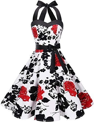 DRESSTELLS Version 3.0 - Vestido de cóctel de lunares con cuello halter, estilo vintage Audrey Hepburn de los años 50 White Red Flower XXXXL