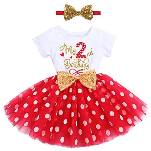 FYMNSI Vestido de manga corta para bebé, niña, de algodón, tutú de tul, línea A, vestido de princesa, vestido de fiesta para sesión de fotos. Rojo Mi 2º cumpleaños. 2 Años