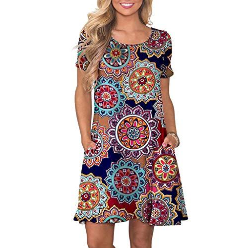 VEMOW Vestido Mujer Mujeres Verano Manga Corta Floral Bolsillos Impresos Vestido de oscilación Ocasional de Sundress(B Armada,2XL)