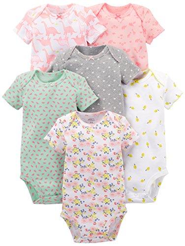 Simple Joys by Carter's - Body de manga corta para niña (6 unidades) ,Pink Dino, Floral, Mint, White, Gray ,Bebé prematuro