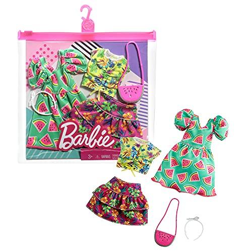 CDU Barbie Pack 2 Looks de Moda: Ropa y Accesorios de muñeca con Motivo de Fresas y Tropical (Mattel GRC85)