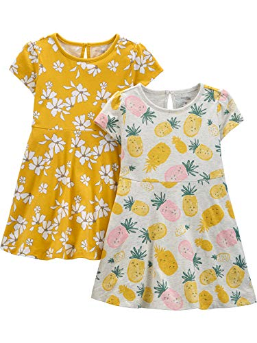 Simple Joys by Carter's 2-Pack Short-Sleeve Dress Vestido Casual, Piña/Floral, 5 años, Pack de 2