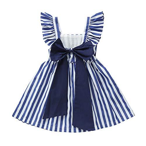 Vestido para Niña Sin Manga con Rayas Blanco y Azul Vestido Niña Verano Estilo Vintage Vestido Casual con Lazo de Niña 1-5 Años (Azul, 9-12 M)