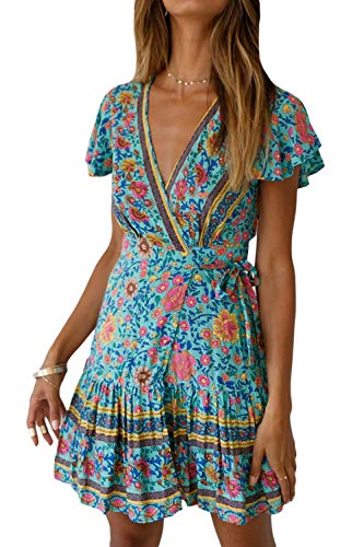 Vestidos Mujer Bohemio Corto Florales Verano Playa Fiesta Vestido Casual Magas Cortas Cuello en V Noche Playa Vacaciones 2 S