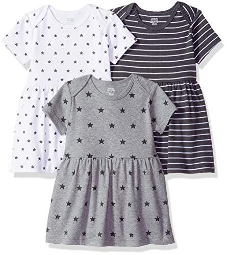 Amazon Essentials - Pack de 3 vestidos para niñas, Neutral Star Stripe, Bebé prematuro