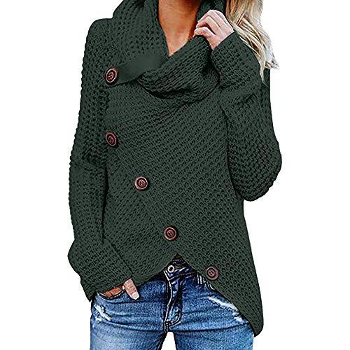 Jerseys De Punto para Mujer Cuello de Tortuga Manga Larga Suelto Prendas de Punto Suéter Irregular Jerséis Collar de la Pila Tops Cálido Otoño Invierno riou (z-Green, L)