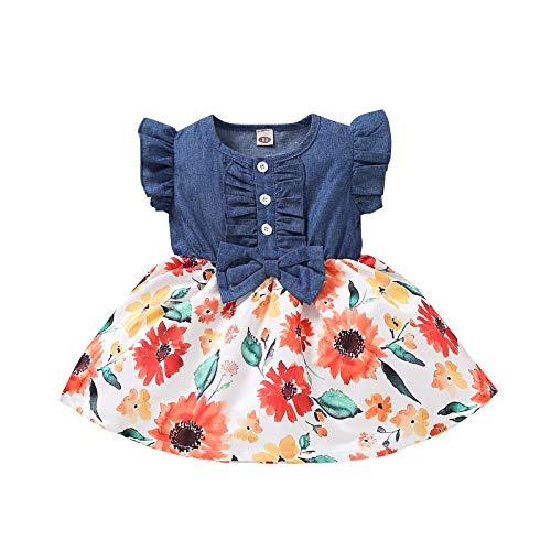 Vestido de Princesa Niña Impresión de Girasol Mezclilla con Volantes Sin Mangas Ropa para Bebés Recién Nacidos Vestidos para Niñas (Rojo, 3-6 Meses)