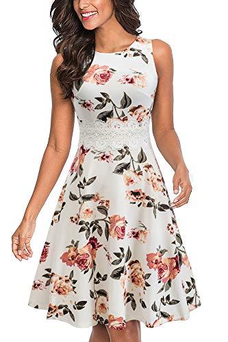 HOMEYEE UKA079 - Vestido de cóctel para mujer, cuello redondo, sin mangas, con flores bordadas, largo hasta la rodilla, estilo vintage Blanco y flores. XL