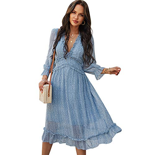 Vestido con Cuello en V de Gasa con Capas de Volantes para Mujer Vestidos a Media Pierna con Estampado Floral y Manga Larga (Azul, S)