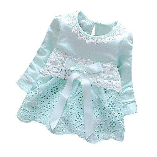 K-youth Vestidos para Niñas Bebes Ropa Bebe Niña Recien Nacido Vestido Bebe Niña Invierno Encaje Vestido De Princesa Niña Vestido de Manga Larga con Cuello Redondo para Niñas(Azul, 0-6 Meses)