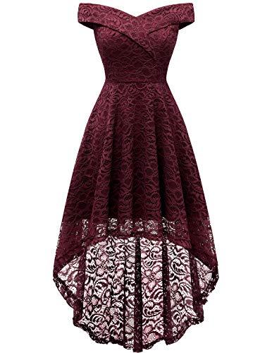 Homrain Vestido Cóctel Vintage A-línea Hi-Lo Elegante Encaje Fiesta Noche Vestido para Mujer Burgundy 3XL